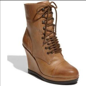 Tan Vince Camuto Lace Up Wedge Booties Size 5.5