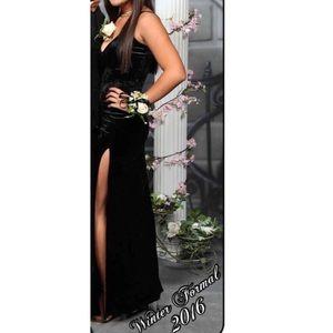 Black formal velvet dress