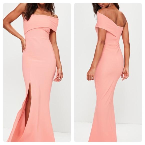 26606fc735d Missguided Dresses | New Coral One Shoulder Maxi Dress | Poshmark