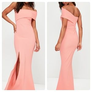 NEW! Missguided Coral one shoulder maxi dress