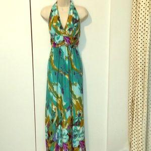 Floral silky halter dress.