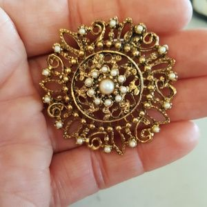 Victorian Filigree Gold Tone Faux Pearl Brooch