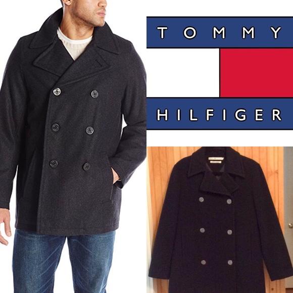 smuts billigt designer mode officiell Tommy Hilfiger Jackets & Coats   Wool Melton Classic Peacoat Navy ...
