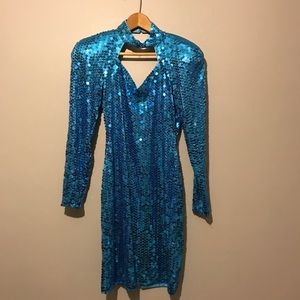 Vintage 90s Blue Sequin Choker Cutout Party Dress