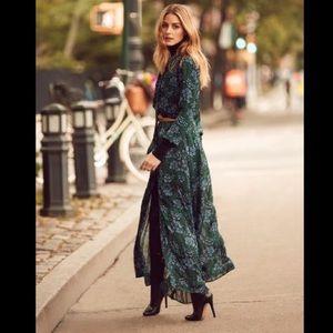 Green and blue flora Maxi dress