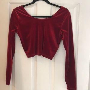NWOT red velvet cropped long sleeve