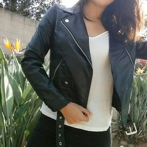 H&M Divided Faux Leather Moto Jacket