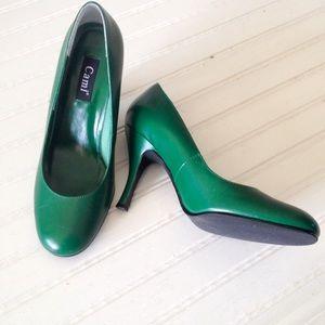 Cami emerald genuine leather heels