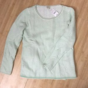 Green + White J. Crew Sweater, size small NWT