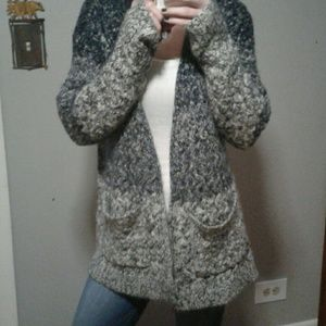 Knit gray and blue cardigan