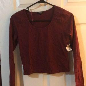 Ambiance maroon oxblood long sleeved crop top