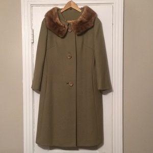 Risa Diane vintage wool coat with mink collar.