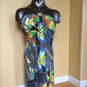 NAPUA XL Honolulu Palm Print Coverup Dress Multi C