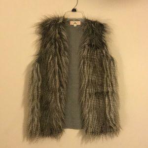 Faux Fur Grey Knit Back Vest