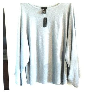 Sparkle banded waist, batwing arms sweater