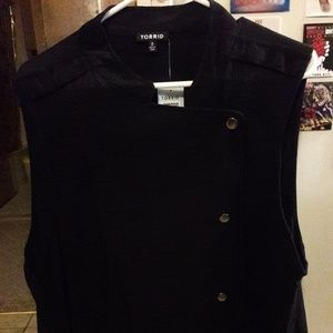 Plus Size Torrid Black Rayon Moto Vest