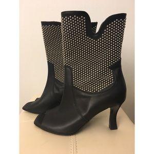 Aquatalia Black Studded Open-toed Booties