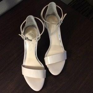 Jessica Simpson nude ankle strap sandals, Sz 9