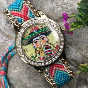 🌵New Frida Kahlo Woven Watch Knit Mexican Charro