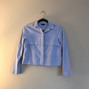 Topshop striped long sleeves crop shirt
