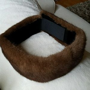 Vintage genuine mink collar scarf headband