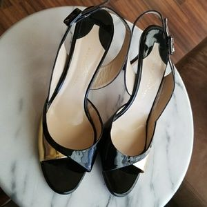Alexandra Neel | Black and Gold Slingback Heels