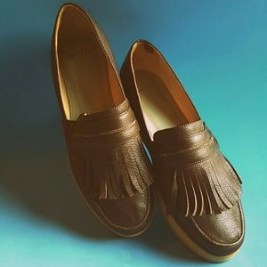 Maiyet Italian leather chocolate brown loafers