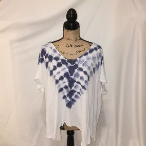 Free People tie dye blue and white tee shirt