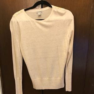 Cream H&M sweater with gold buttons