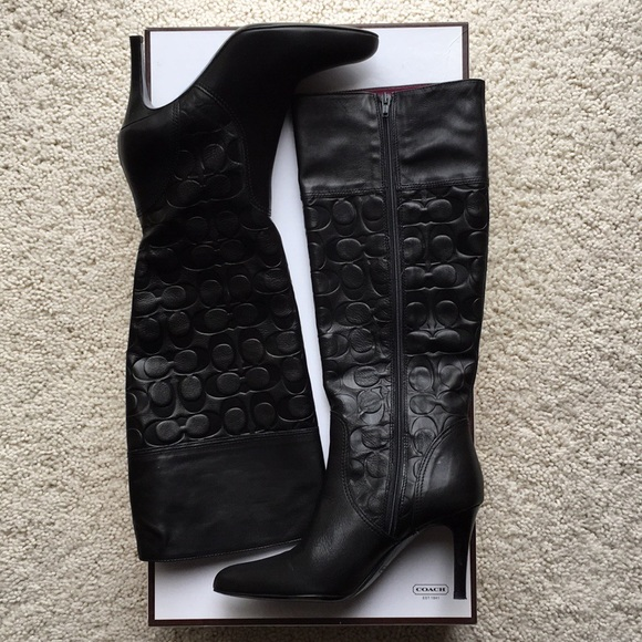 264ffed9754 Coach Embossed Signature Tall Leather Boot. 7B