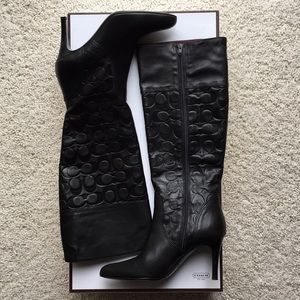 Coach Embossed Signature Tall Black Boot.  Size 7B