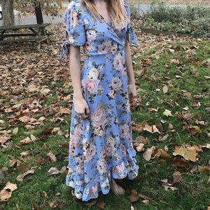 Francesca's Poppy Floral Wrap Maxi Dress
