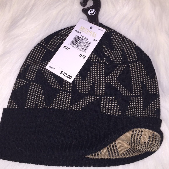 ab6f3c4bc17 🎁NEW Michael Kors winter knit beanie hat blk tan