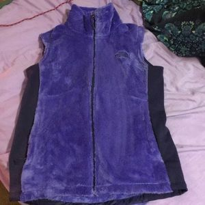 Purple, fuzzy NorthFace vest