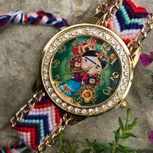 🌵New Frida Kahlo Woven Watch Knit Mexican Folk