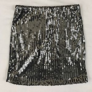 Sequin Mini Skirt in Gray