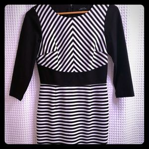 Tahari ASL black and white striped dress