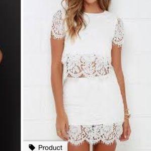 lulus two piece lace dress white