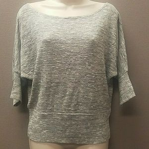 Tops - Gray Sparkly Boatneck Shirt