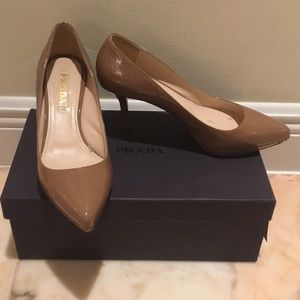 Prada parent leather pumps