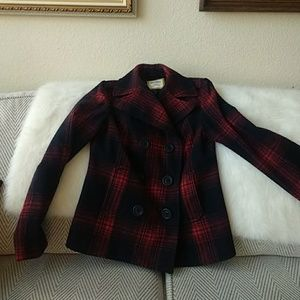Black / red plaid wool cropped peacoat