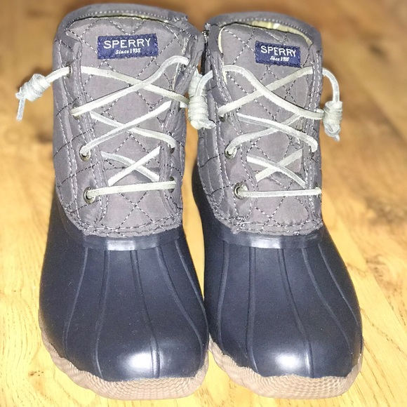 Sperry Duck Boots Gray And Navy Blue