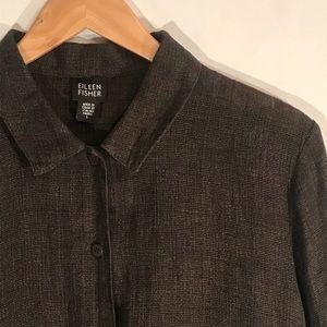Eileen Fisher Large 100% Linen Dark Brown Top