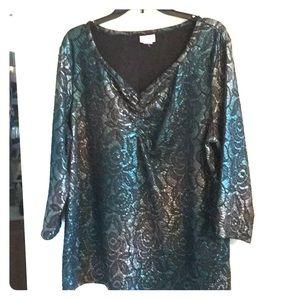 Multicolored blue,silver & black blouse