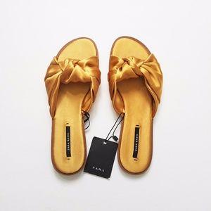 ZARA Mustard Gold Satin Sandals Slides Mules 5.5