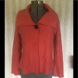 JM Collection coral cardigan sweater.