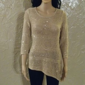 Long sleeve sequin knit blouse