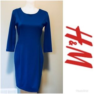 H&M woman's long sleeve dress medium royal blue