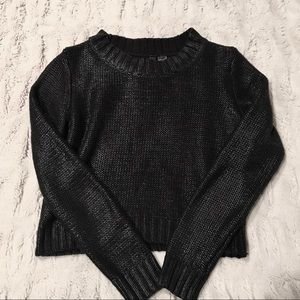 H&M Cropped Textured Black Knit Sweater