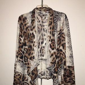 NWT Leopard print mesh top, brown, black, & cream.